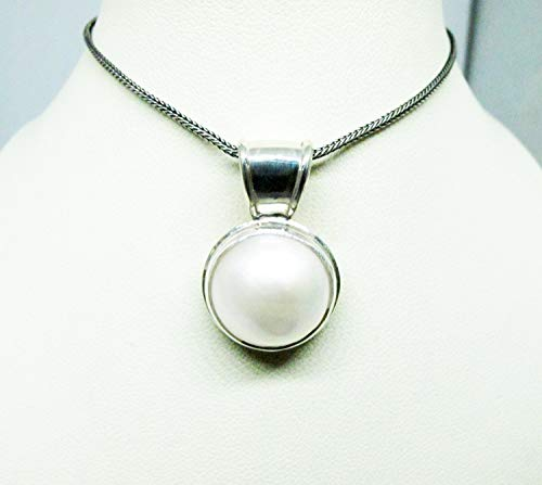 925 sterling silver pendant with 15 mm round white mabe pearl, white mabe pearl pendant, genuine mabe pearl necklace pendant