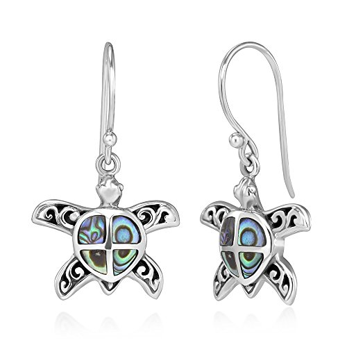925 Sterling Silver Natural Green Abalone Shell Inlay Filigree Sea Turtle Dangle Hook Earrings (Shell Inlay Earrings)