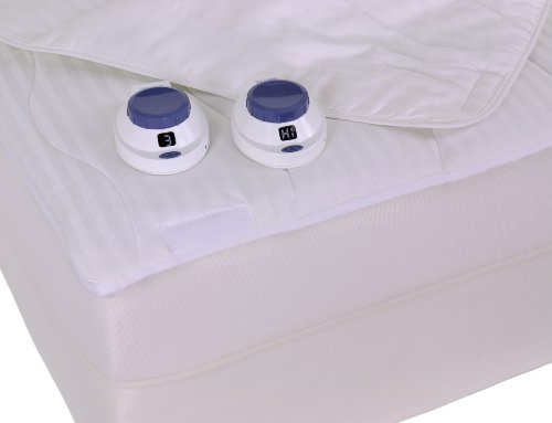 Serta 233-Thread Count Removable Top Low-Voltage Electric Heated King Mattress Pad, White by Serta