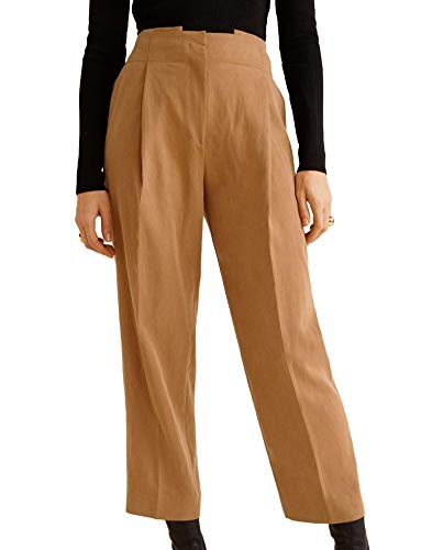74b8be3bd1 MANGO Women s Decorative Pleat Trousers 41041074 Brown  Amazon.co.uk   Clothing