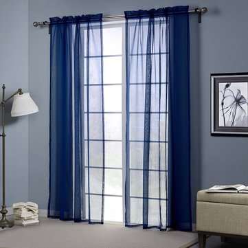 Dark Blue Europe Style Punching Sheer Curtain Balcony Bedroom Living Room Window Screen Decor^W52 x L95Inch.