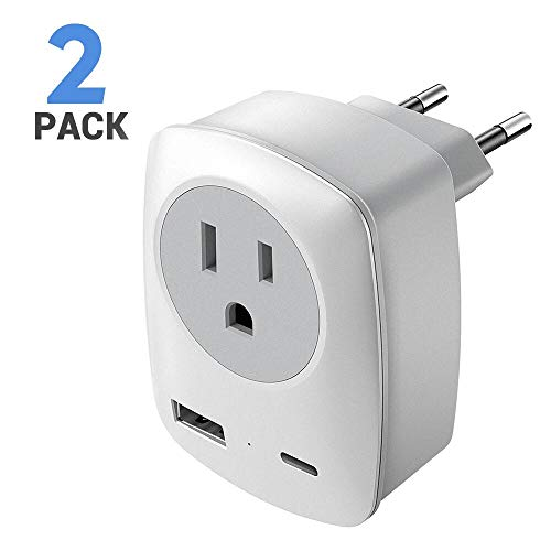 European Plug Adapter,European Plug Adapter, 2 Pack Upgraded European Travel Adapter with USB Type-C and USB Charging Port, EU to US Power Adapter for Most European Countries including France, Spain