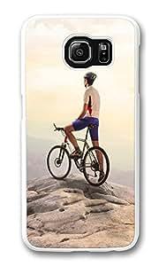 VUTTOO Rugged Samsung Galaxy S6 Case, Bike Rider Top Mountain Hard Case for Samsung Galaxy S6 PC White