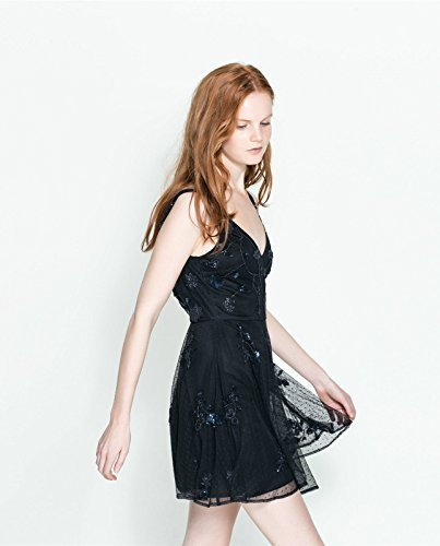 Zara azul tamaño vestido de fiesta bordado: tamaño mediano