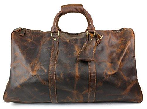 Large Genuine Leather Duffel Weekender Bag with Shoulder Strap - Crazy Horse Brown/Black by Proper Materials