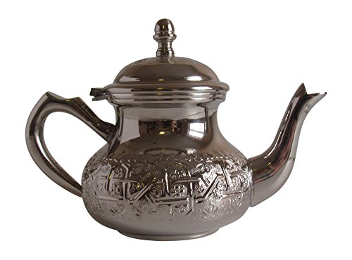 Vintage Styled Small Handmade Moroccan Silver Plated Teapot with Built In Tea Infuser Filter, Bring Home a Beautifully Functional Near East Tradition, 16 Ounces