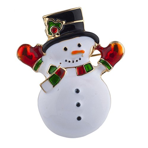 Lux Accessories Gold Tone White Snowman Black Green Red Christmas Winter Brooch from Lux Accessories