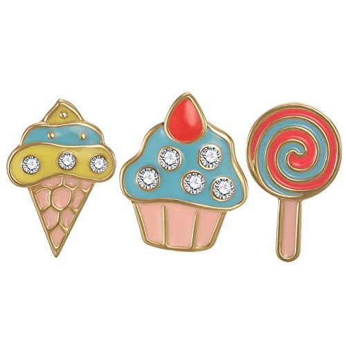 FAMARINE Cake Lollipop Icecream Stud Earrings Crystal Cute Funny Food Earring for Teen Girls Women Kids Children, - Cake Gold Birthday Charm