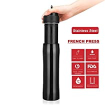 Fill N Save Portable Stainless Steel Coffee Press | Vacuum Insulated Travel Mug | Premium Stainless Steel | Hot and Cold Brew (12 oz) | Great for Commuter, Camping, Outdoors and Office …