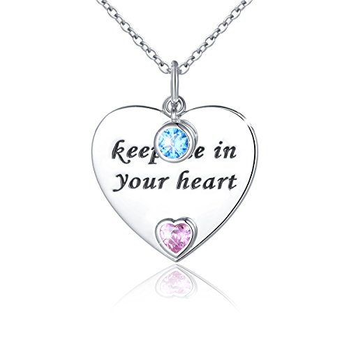 (JZMSJF Mom Birthday Gift S925 Sterling Silver Double Heart CZ Pendant Engraved Keep me in Your Heart Necklace,Chain 18'')