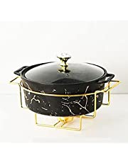 2 Quart Round Chafing Dish Buffet Set, Ceramic Marble Finish Chafer with Glass Lid, Chafer and Buffet Warmer Set for Buffet Weddings Parties Banquets