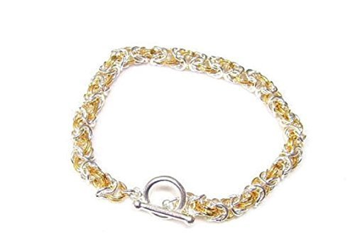 Beautiful Silver Handcrafted Byzantine Bracelet, Gold, Two Tone and Antique Colors Available