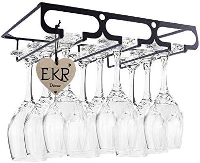 [スポンサー プロダクト]EKR キャビネット下ワイングラスラック家庭用キッチンダイニングワインアクセサリー脚付きグラスガラスラック収納オーガナイザーバーカウンター1段ガラスラック円筒形デザイン (1列棚) 12 x 23 x 5 cm