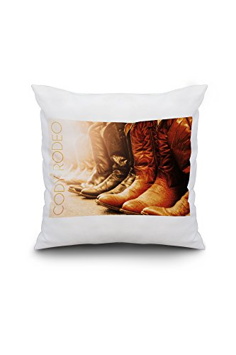 Wyoming - Codeo Rodeo - Cowboy Boots (18x18 Spun Polyester Pillow, Custom Border) by Lantern Press