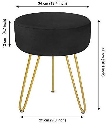 Modern Footrest Stool Dressing Table Stool Upholstered 3-Leg Decorative Chairs for Living Room Bedroom FoFxly Velvet Foot stool Round Footstool Ottoman Black