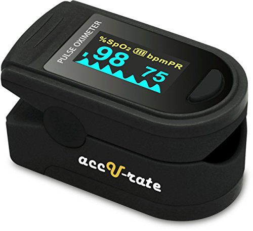 Acc U Rate CMS 500D Generation 2 Deluxe Fingertip Pulse Oximeter with alarm, silicon cover, batteries and lanyard