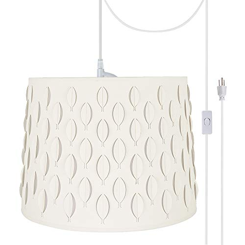 (Aspen Creative 79301-21 Two Plug-in Swag Pendant Light Conversion Kit with Transitional Empire Laser Cut Fabric Lamp Shade, Off White, 16