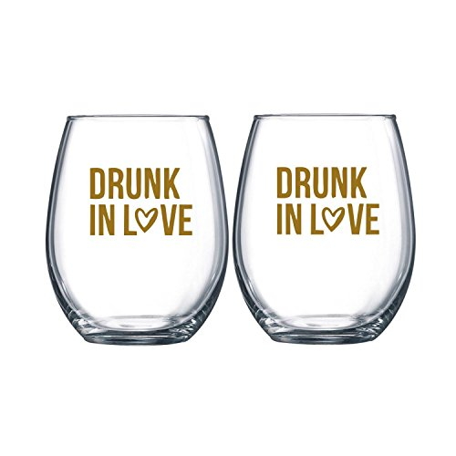 Drunk In Love Stemless Wine Glass Set of 2 Wine Glass Wedding Favor Drunk On Love His and Hers Wine Glasses Bridal Shower (Drunk Glass)