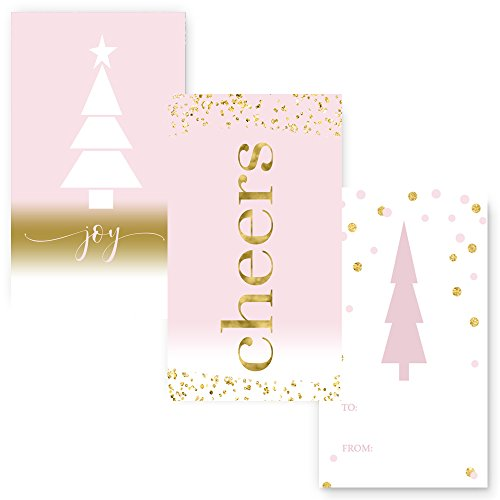 Shabby Christmas Tag Trio (15 pc.) Pink and Gold (Tags Shabby Chic)