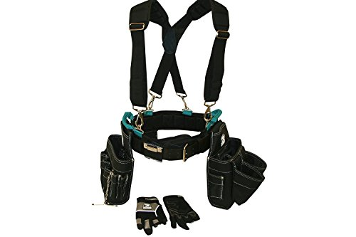 Contractor Pro Professional Electrician's Complete Package Plus+ (Tool Belt, Bucket Tote, Suspenders, and Gloves) 3XL 50-55 Inch Waist for Electricians, HVAC, Carpenters, - Plus Carpenter Glove