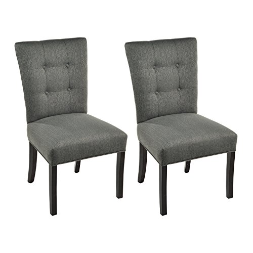 Sole Designs La Mode Collection Fanback Dining Chair, 4 Button Stitched Side Chair, Charcoal (Set of 2) (Armless Chair Designer Fabric)