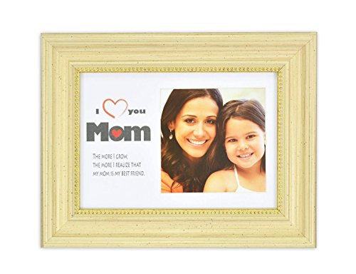 Cream Color Frame - Golden State Art Love Mom Frame Collection, 5x7 Horizontal Frame for 4x4 Photo with White Mat, Table-Top Easel Stand, Real Glass (Sonora Cream)