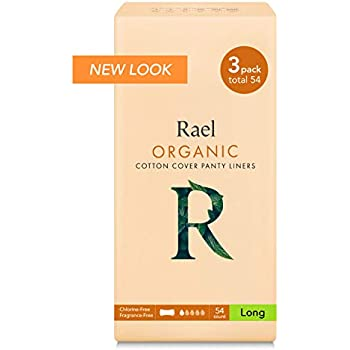 Rael Certified Organic Cotton, Unscented, Natural Daily Panty-Liners, Long, Pack of 3 (54 Count)