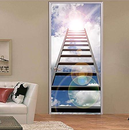 Ruifulex Pegatinas para Puertas Cielo Azul Nube Blanca Escalera de Aire Luz del Sol Pegatinas de Puertas Falsas en 3D Mural Decoración del hogar Vinilo Papel Tapiz: Amazon.es: Hogar