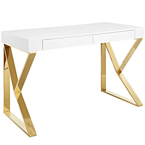 Modway Adjacent Contemporary Modern Office Desk With Metallic Legs in White Gold