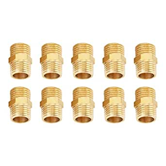 Male 1//4/'/'-1.1//4/'/' BSP Thread Hex Nipples Equal Straight Brass Fitting Connector