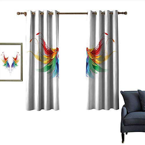 longbuyer Rainbow Decor Curtains Reaistic Looking Feathers in Raimbow Colors Forming Wings Flight Angels Symmetrical Home Garden Bedroom Outdoor Indoor Wall Decorations 55