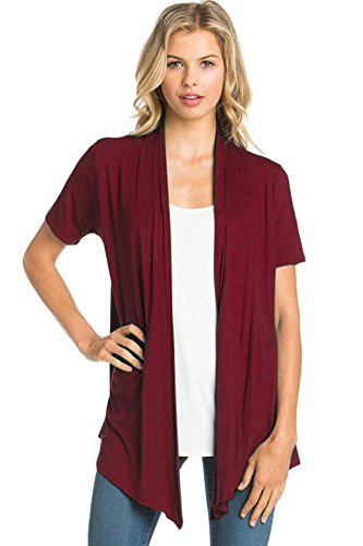 12 Ami Basic Solid Short Sleeve Open Front Cardigan Burgundy 2X ()