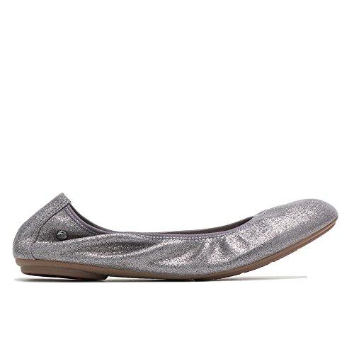 Hush Puppies Women's Chaste Ballet Flat, Dark Grey/Metallic Suede, 9.5 M US (Metallic Ballet Flats Leather)