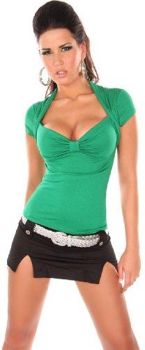 En-style-bolro--manches-couleur-unie-avec-col-en-v-taille-unique-34-38-Vert-Taille-unique