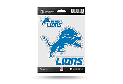 (Rico Industries NFL Detroit Lions Die Cut 3-Piece Triple Spirit Sticker)