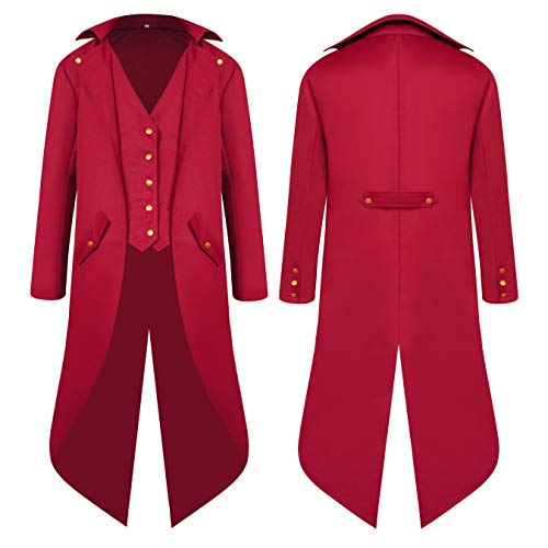 Men's Steampunk Vintage Red Tailcoat Jacket Gothic Victorian Medieval Halloween Costume Coat - http://coolthings.us