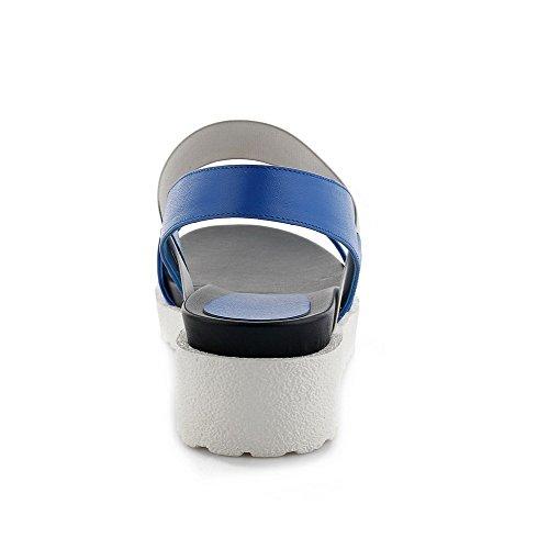 Allhqfashion Donna Tondo Open Toe Tacchi Gattino Solido Sandali In Pelle Di Mucca Con Fondo In Gomma Blu
