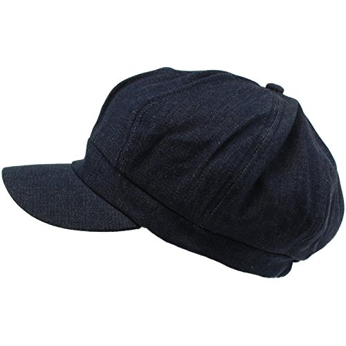 Denim Newsboy - Summer 100% Cotton Plain Blank 6 Panel Newsboy Gatsby Apple Cabbie Cap Hat Dk. Denim