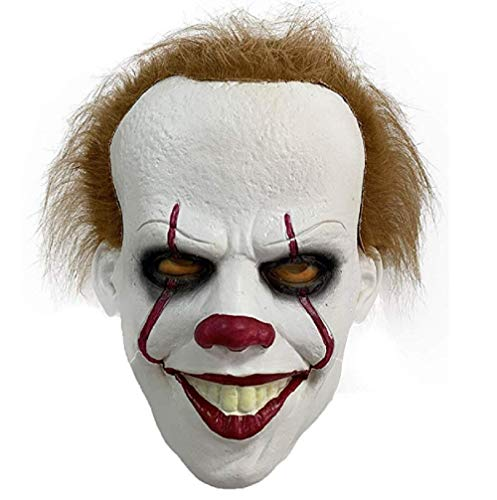 Halloween Ii 2019 Mask (Halloween Clown Mask It: Chapter Two 2019 Stephen King Movie Adult Horror Clown Full face Costume Party Props)