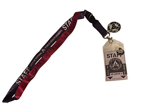 Suicide Squad Arkham Staff D/S Lanyard Keychain ID Holder With Charm and Sticker