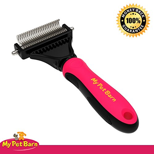 Pet-Grooming-Rake-Dematting-Comb-Professional-Stainless-Steel-Deshedding-Brush-Tool-Easy-to-Use-on-your-Dog-Cat-Double-sided-Teeth-Removes-Shedding-Undercoat-Untangles-Knots-and-Matted-Hair