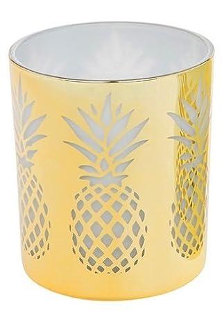 Shudehill Giftware Blanc Et Dore Ananas Impression Grande Bougie