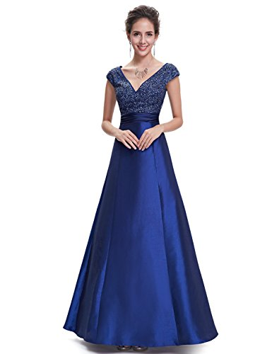Ever-Pretty Robe de Soire Maxi en Taille Empire V-Col Profonde 08495 Bleu Marin