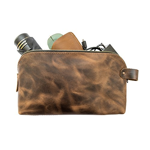 Large Rustic Leather All Purpose Dopp Kit Utility Bag (Cords, Chargers, Tools, School / Office Supplies) Handmade by Hide & Drink :: Bourbon Brown