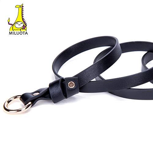 MILUOTA Gold Round Buckle Belts for Women Leisure Belt Dress No Belt Pin Strap Metal Buckle PU Leather Female MU233