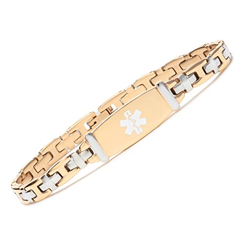 Fashion Lady Stainless Steel Gold Tone Medical Alert id Bracelets with Free Engraving(7.5)