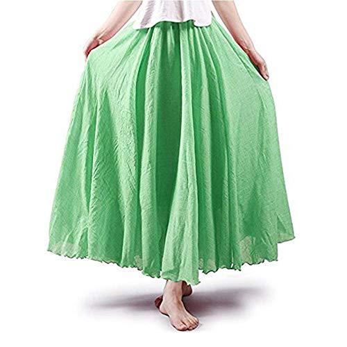 Asher Women's Bohemian Style Elastic Waist Band Cotton Linen Long Maxi Skirt Dress (95CM, Fruit Green)