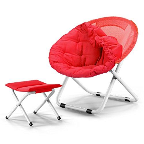 紛争文庫本チャネル折り畳み式デッキチェア携帯用旅行折りたたみ椅子丸型チェアムーンチェアキャンプチェアレジャーソファ椅子背もたれ椅子庭園パティオサンラウンジャー (色 : 赤, 設計 : A+Footstool)