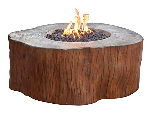 Elementi Manchester Outdoor Firepit Table 42 Inches Rectangular Fire Pit Concrete Patio Heater Electronic Ignition Backyard Fireplace Cover Lava Rock Included, Liquid Propane (Outdoor Table With Fire Pit In The Middle)