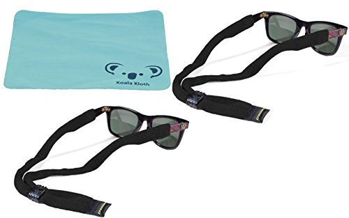 Croakies Kids Cotton Suiter Eyewear Retainer Childrens Glasses Strap | Adjustable Eyeglass and Sunglass Holder | Boys and Girls Sports Use | 2pk Bundle + Cloth, - Girl Croakies